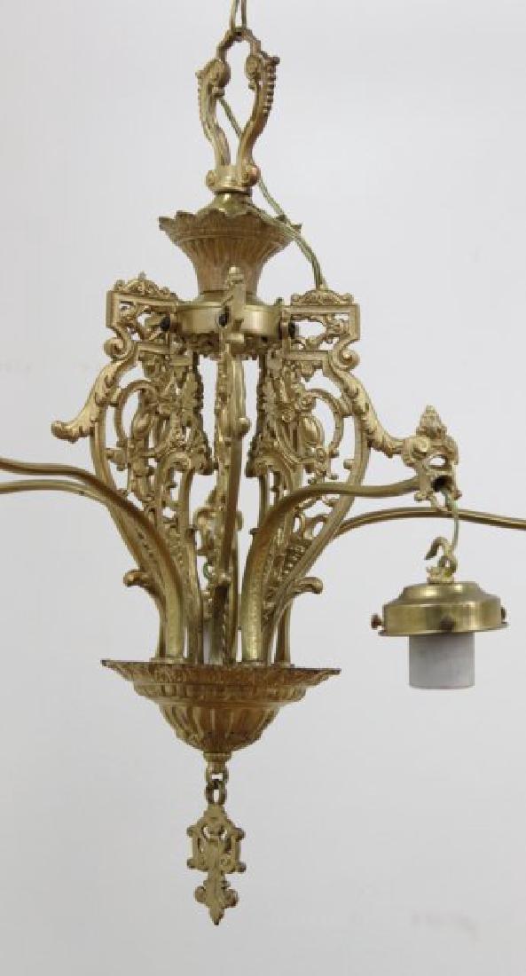 Gothic Style Gilt Brass 5-Arm Chandelier - 3