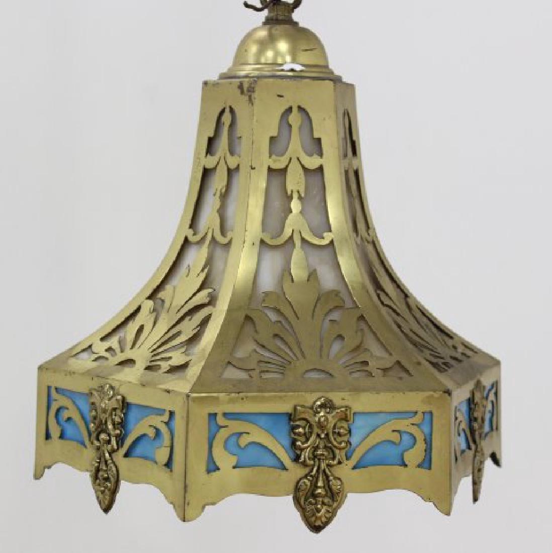 Brass & Slag Glass Ceiling Fixture
