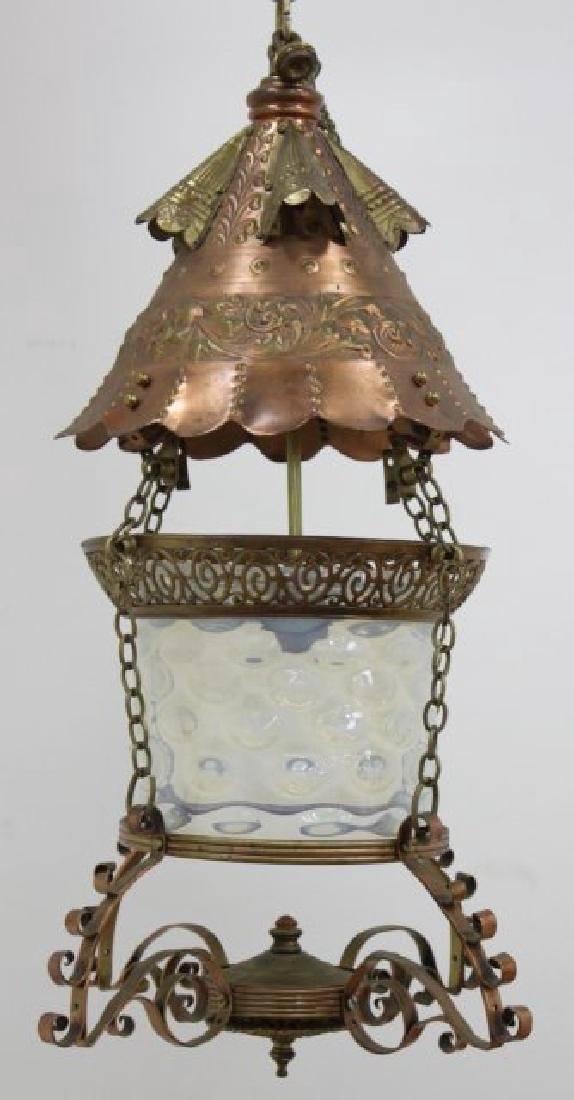 Hammered Copper & Metal Moroccan Style Chandelier