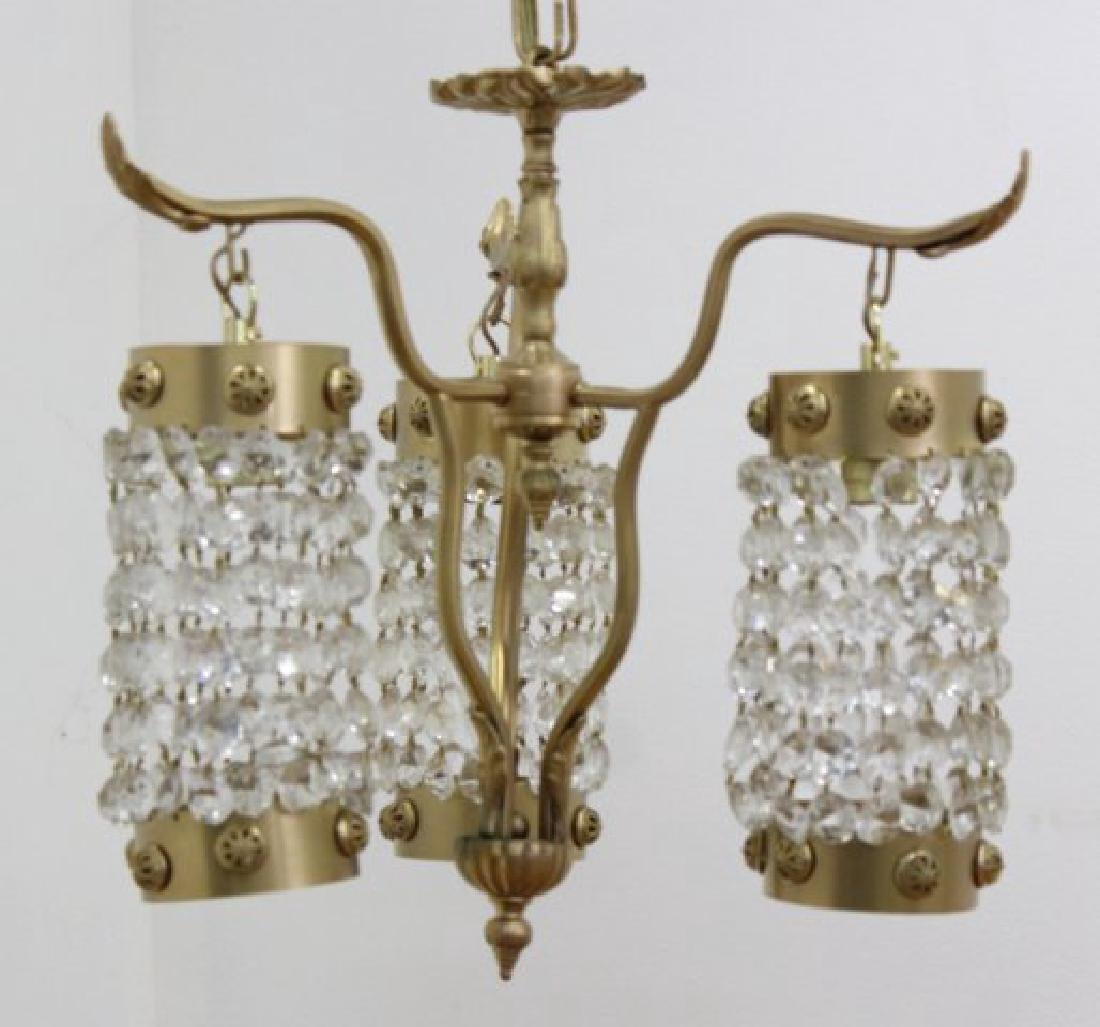 3-Light Gilt Metal Beaded Chandelier