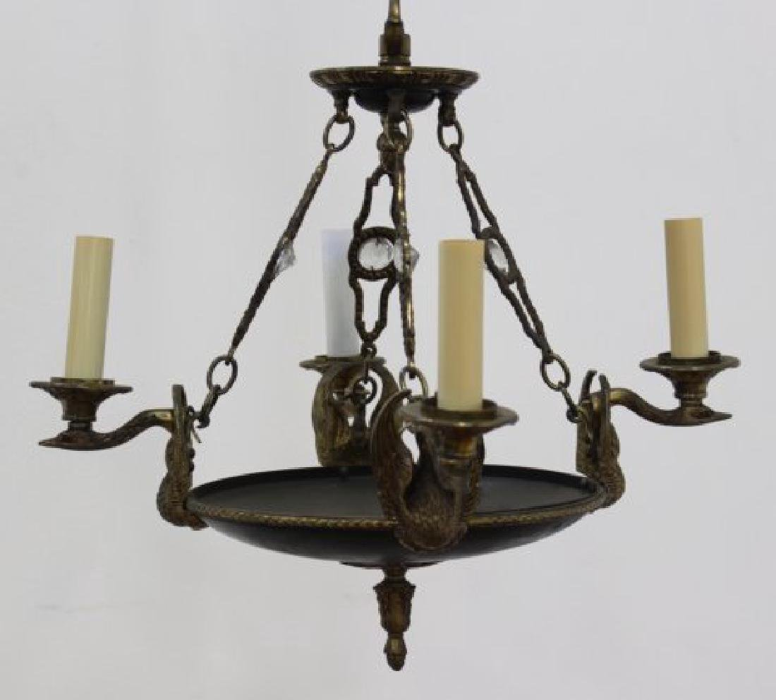 Empire Style Chandelier with Gilt Metal Swan Arms - 2