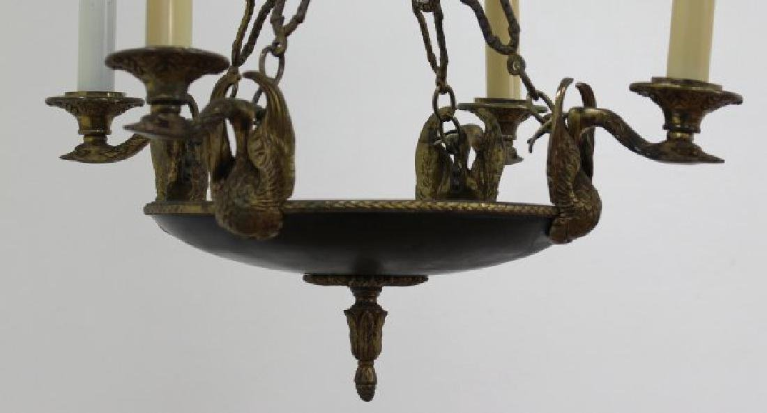 Empire Style Chandelier with Gilt Metal Swan Arms - 3