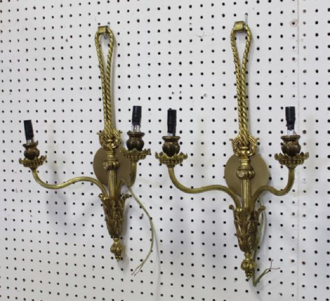 Pair Gilt Metal Rope Style 2-Light Sconces