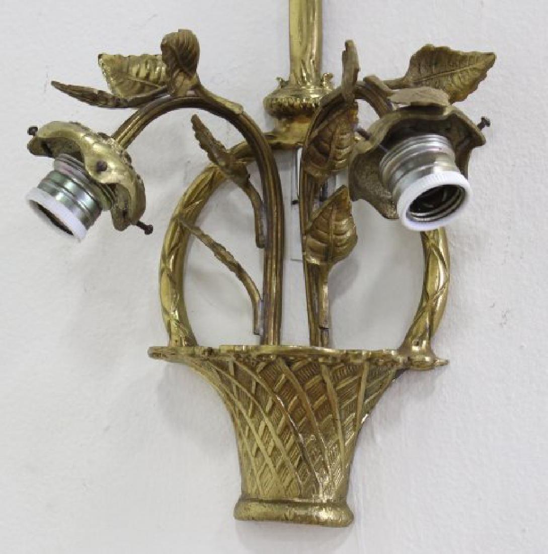 Set 3 Bronze Basket 2-Light Sconces - 3