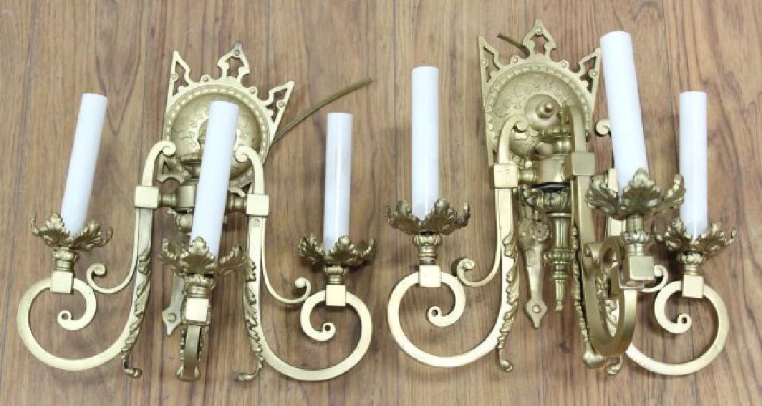 Pair Gilt Brass Gothic Style 3-Arm Sconces