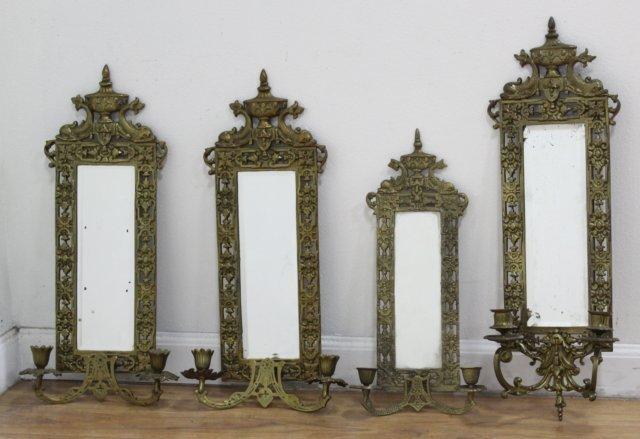 4 Renaissance Style Mirrored Brass 2-Light Sconces