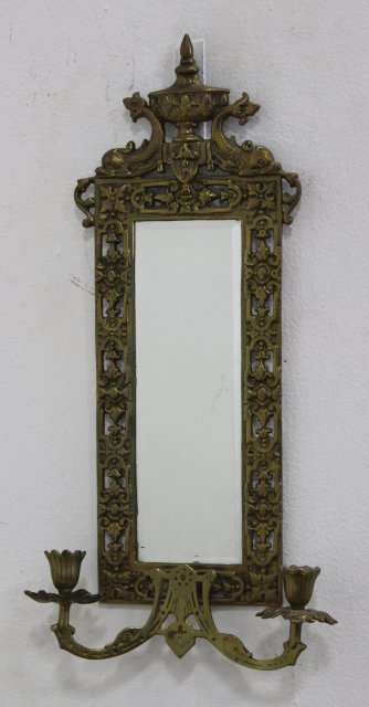 4 Renaissance Style Mirrored Brass 2-Light Sconces - 4