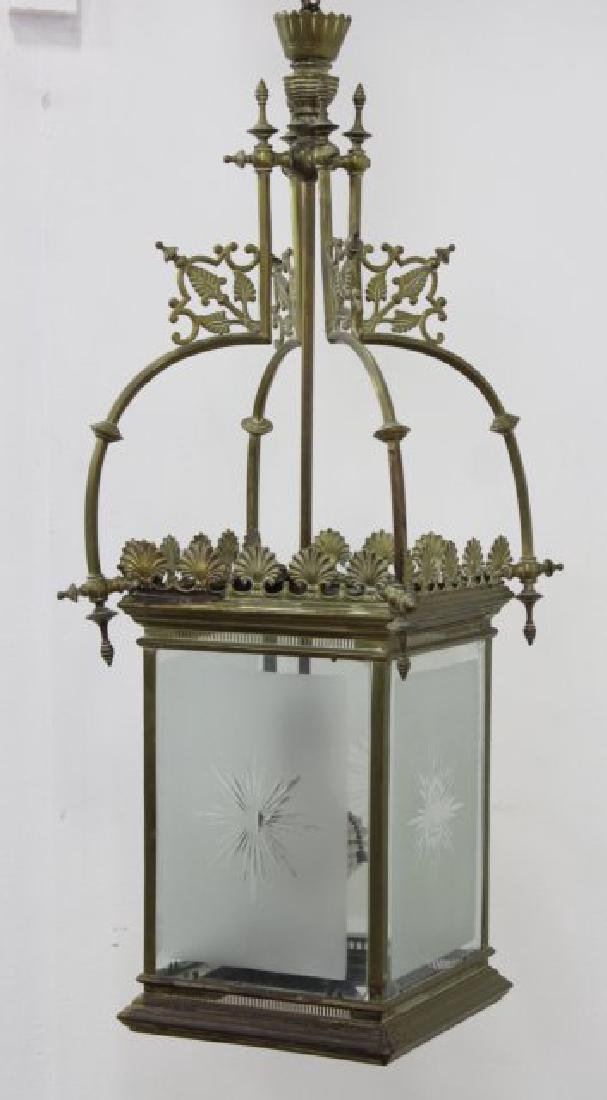 Brass Lantern with Frosted & Etched Shades
