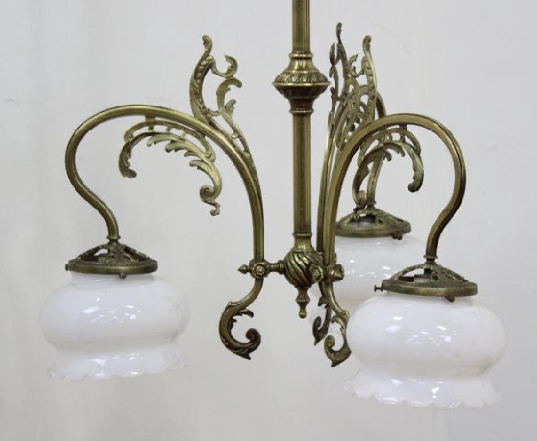Art Nouveau Style Brass 3-Light Chandelier - 2