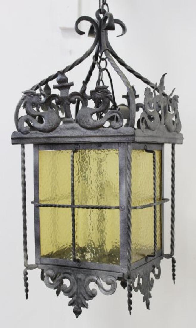 Wrought Iron Medieval Style 4-Light Hall Lantern