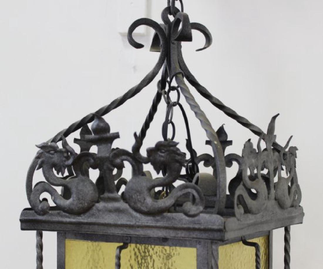 Wrought Iron Medieval Style 4-Light Hall Lantern - 2