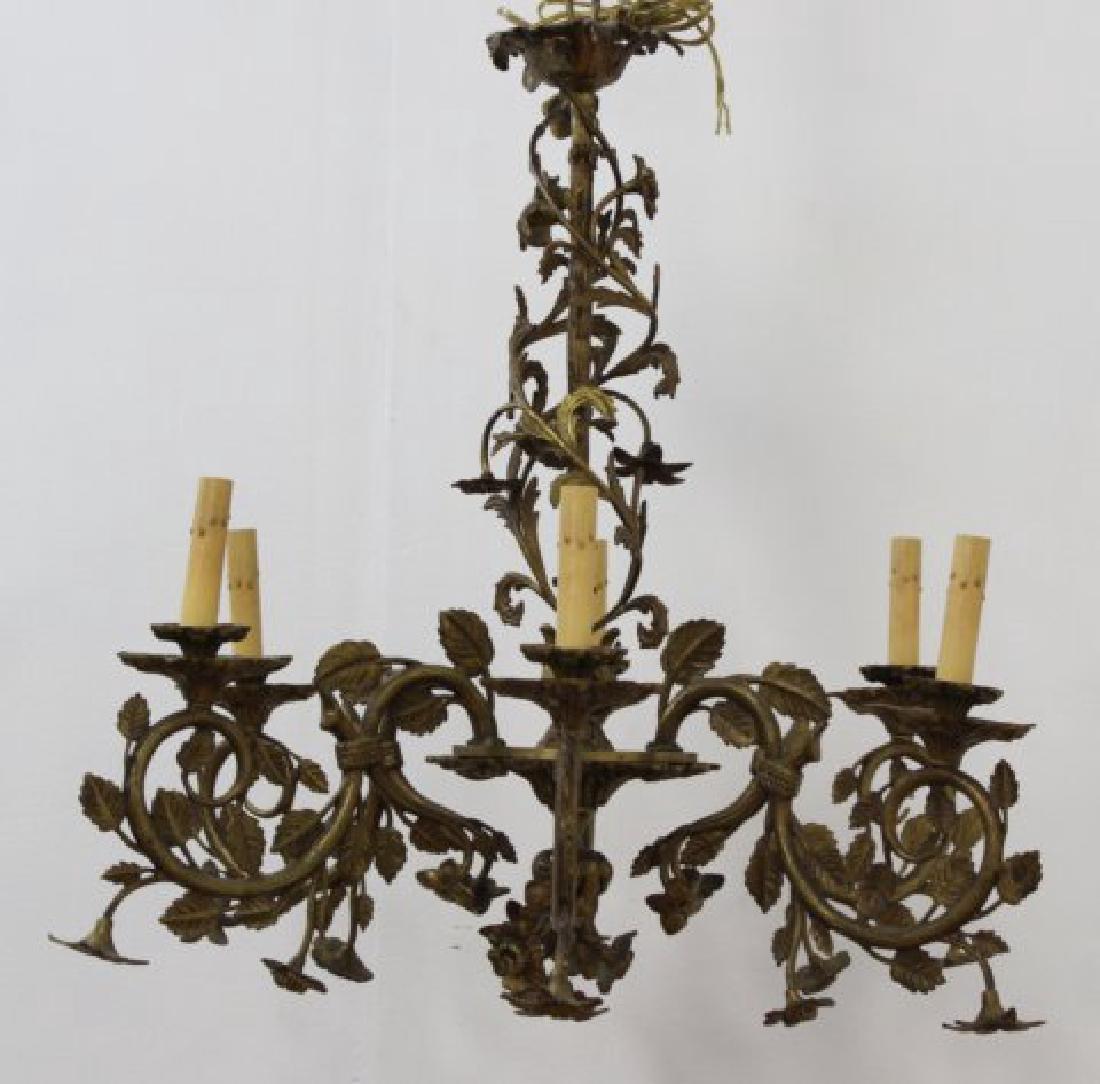 :Rococo Style Foliate Cast Brass 6-Lt Chandelier