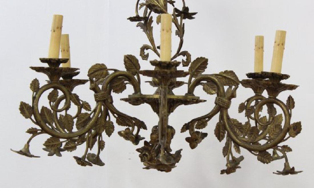 :Rococo Style Foliate Cast Brass 6-Lt Chandelier - 2