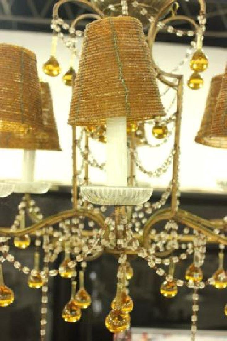 :Beaded 6-Light Chandelier with Color Prisms - 2