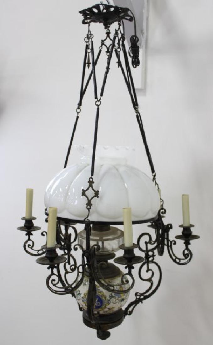 Victorian Ceramic & Brass 7-Light Oil Chandelier