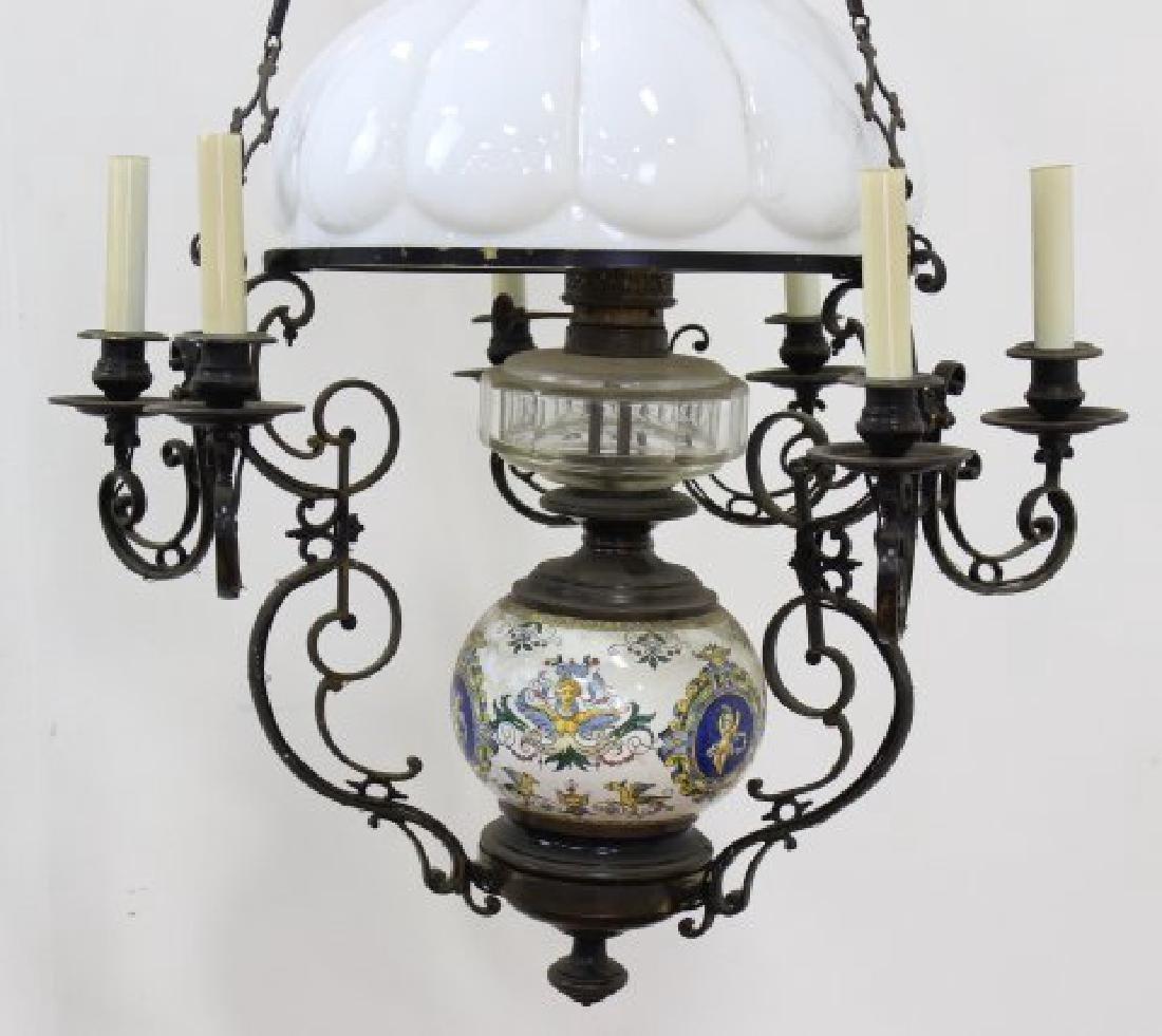 Victorian Ceramic & Brass 7-Light Oil Chandelier - 2