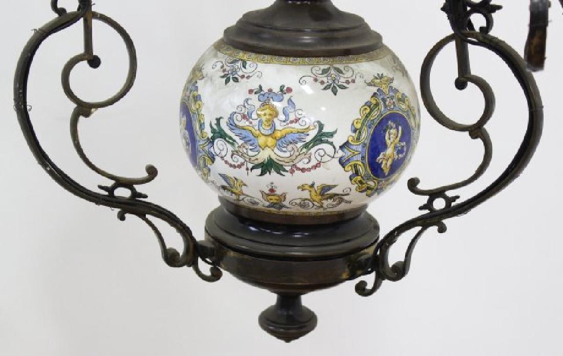 Victorian Ceramic & Brass 7-Light Oil Chandelier - 3