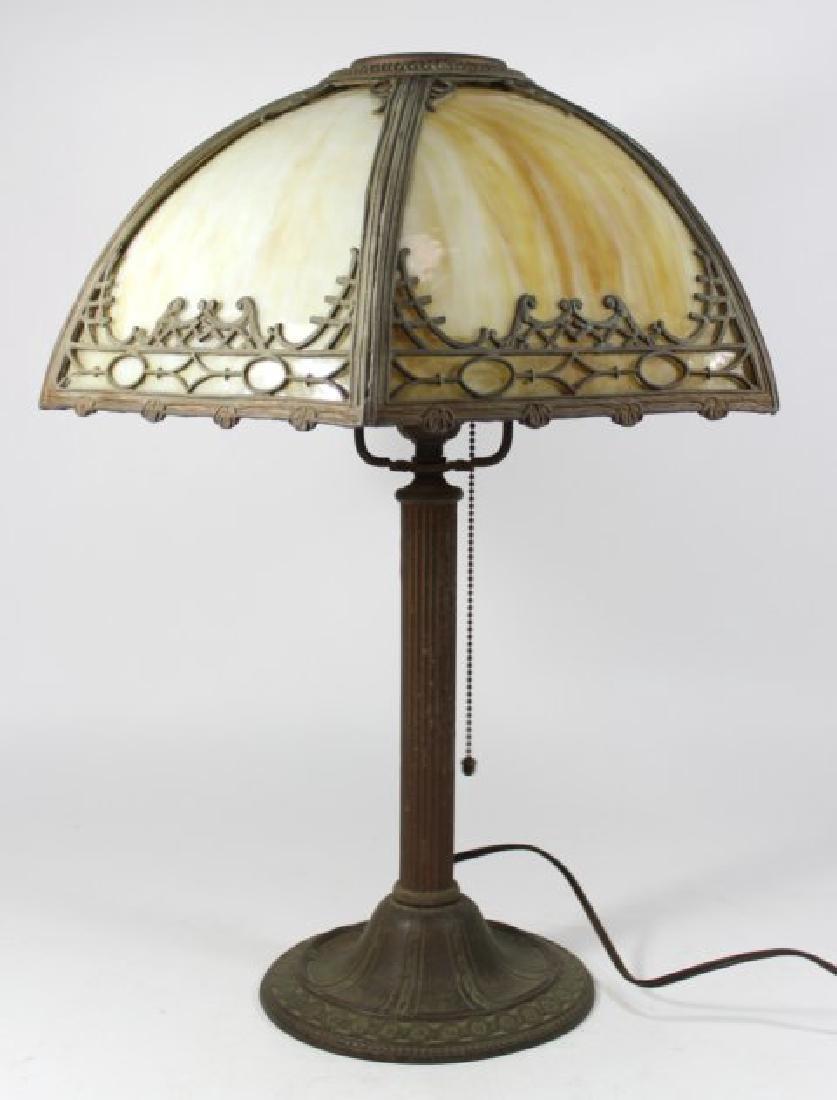 Early 20th Century 6-Panel Slag Glass Lamp
