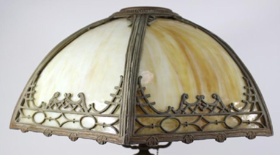Early 20th Century 6-Panel Slag Glass Lamp - 2