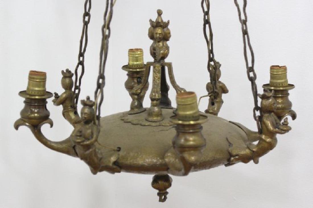 Early 20th C. Bronze Figural 4-Light Chandelier - 2