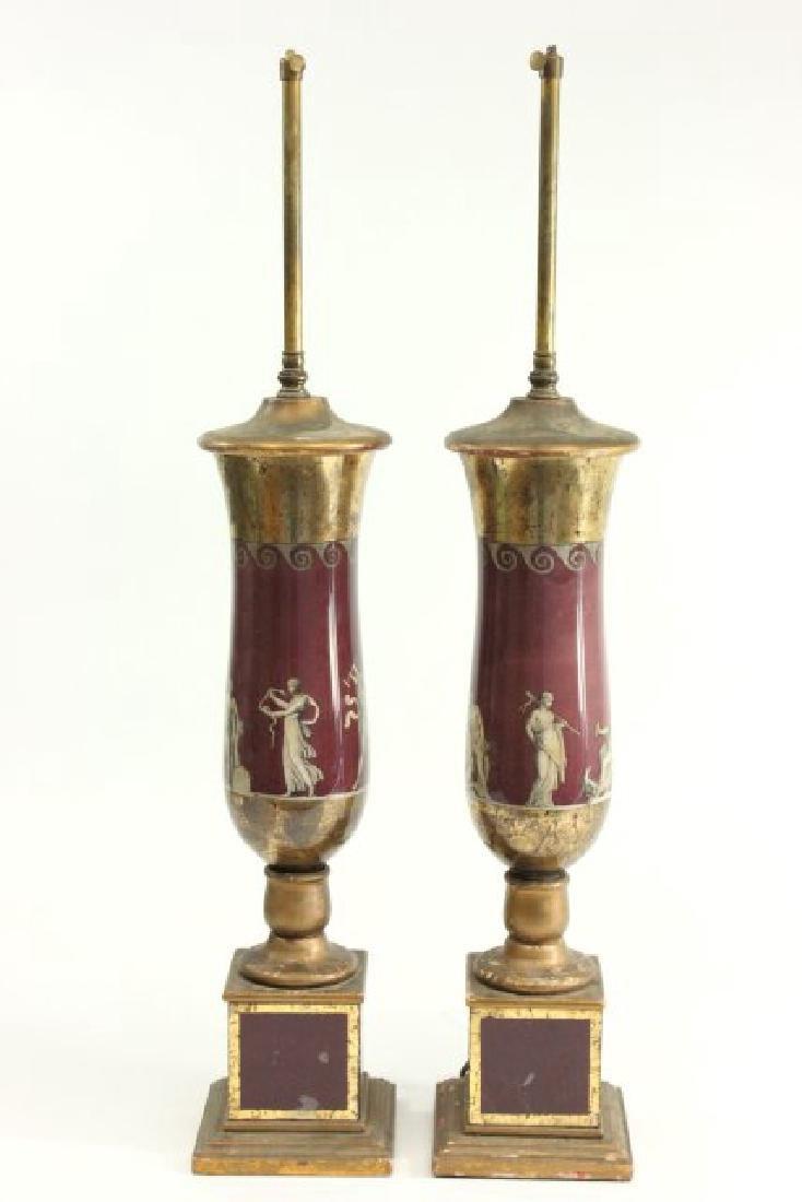 Pair Reverse Painted Lamps