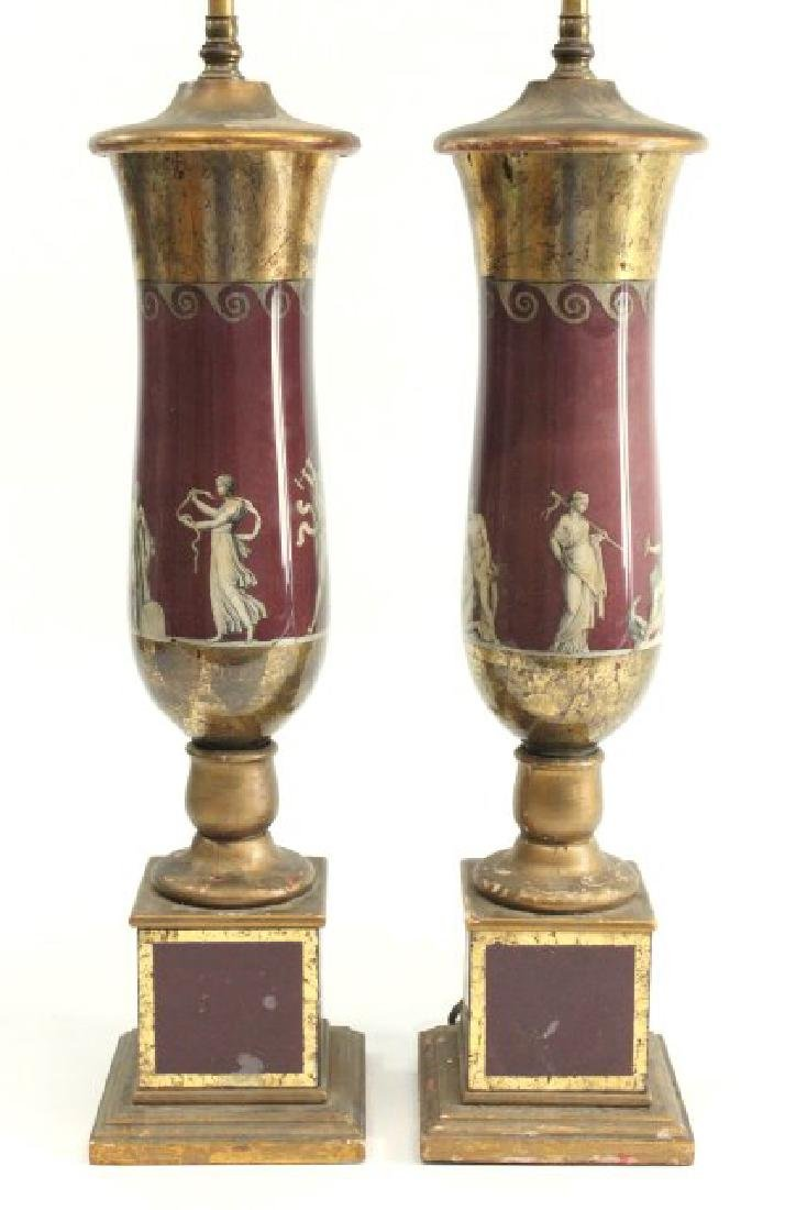 Pair Reverse Painted Lamps - 2