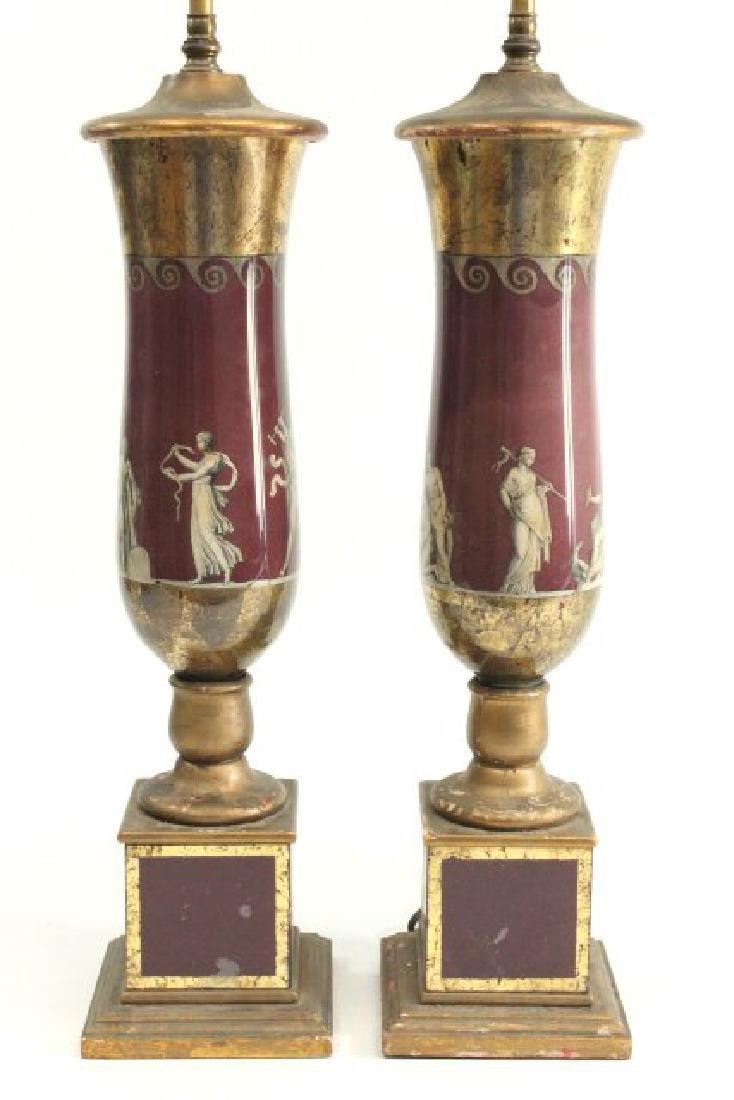 Pair Reverse Painted Lamps - 2