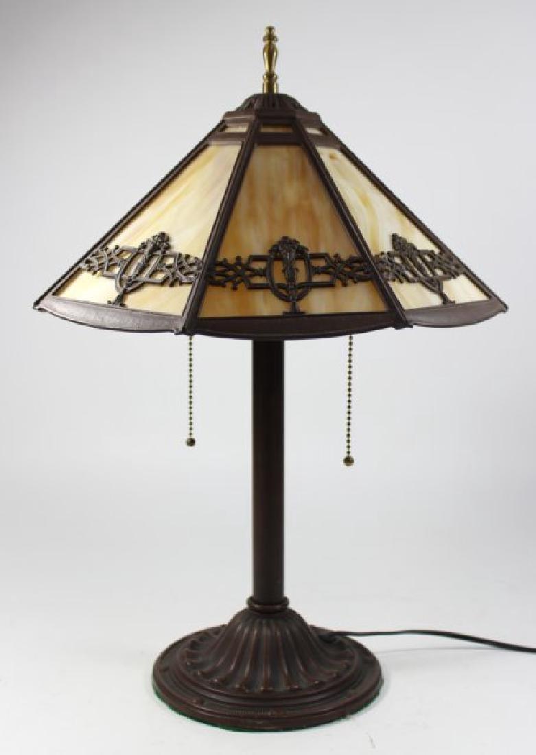 Slag Glass 8-Panel Lamp