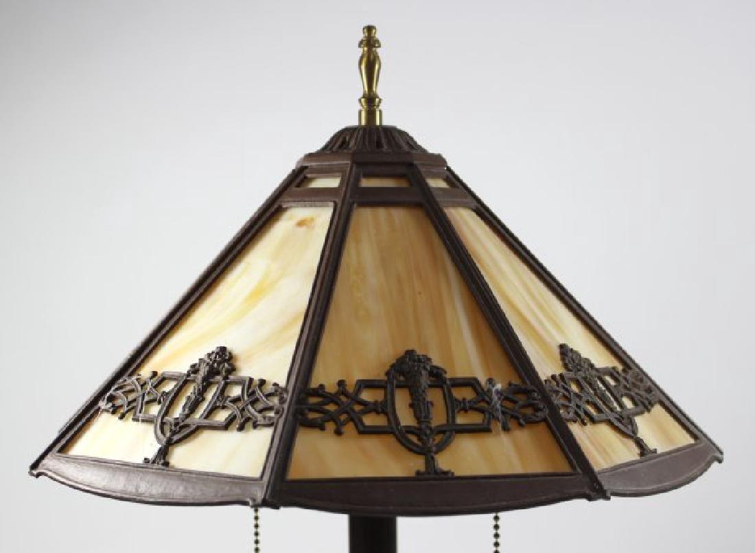 Slag Glass 8-Panel Lamp - 3