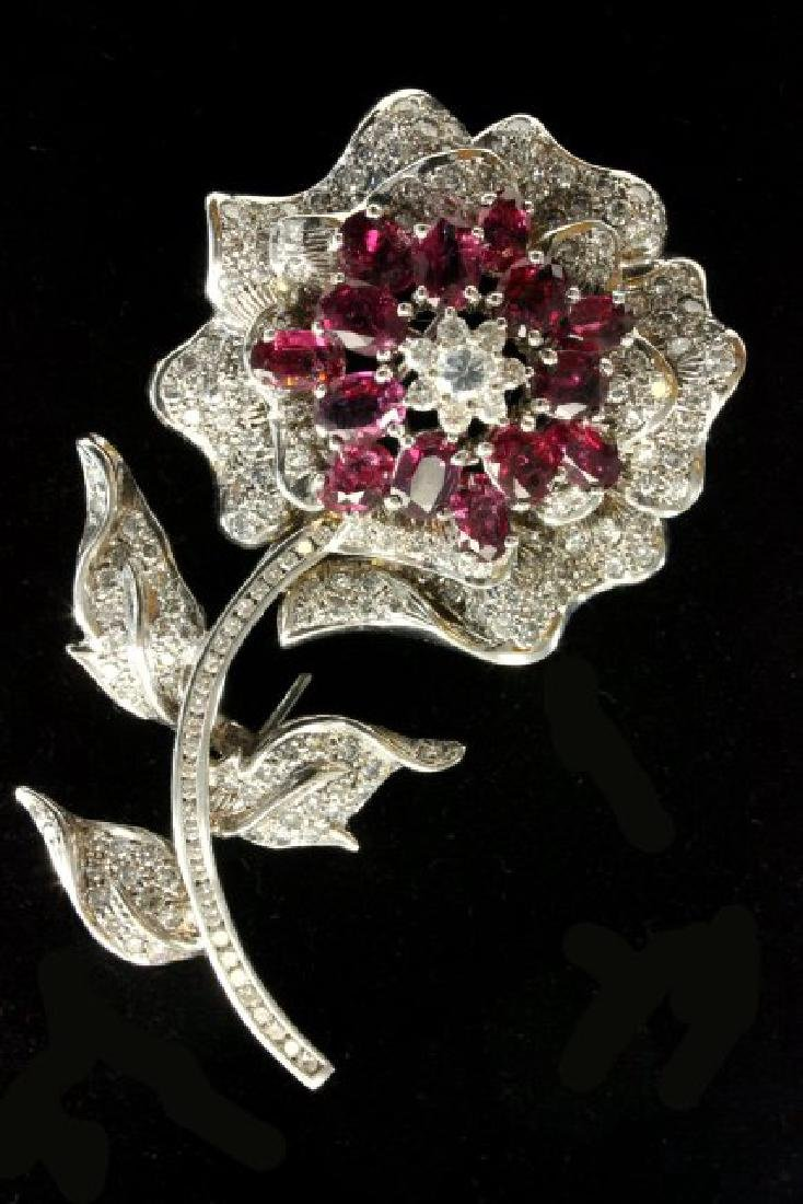 14K White Gold Diamond & Ruby Floral Pin