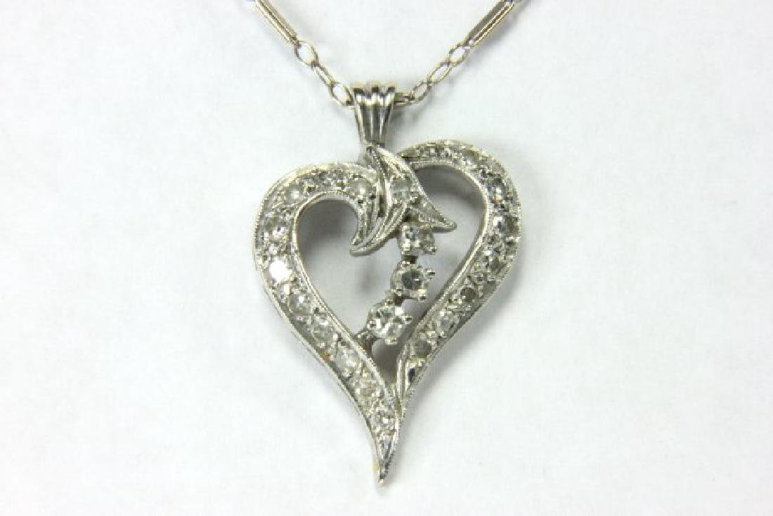 White Gold Necklace w/ Diamond Studded Drop - 2