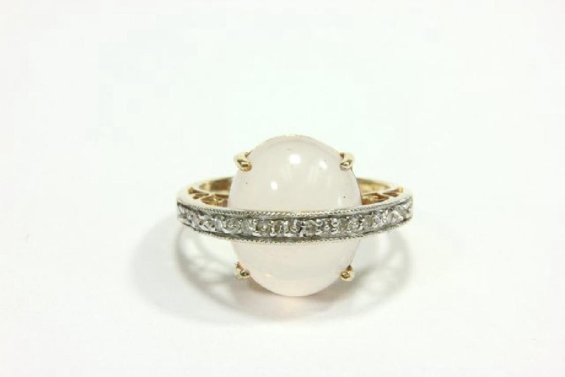 14K Yellow Gold Quartz & Diamond Cocktail Ring