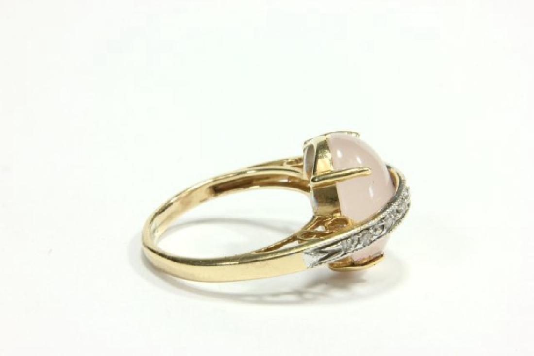 14K Yellow Gold Quartz & Diamond Cocktail Ring - 2