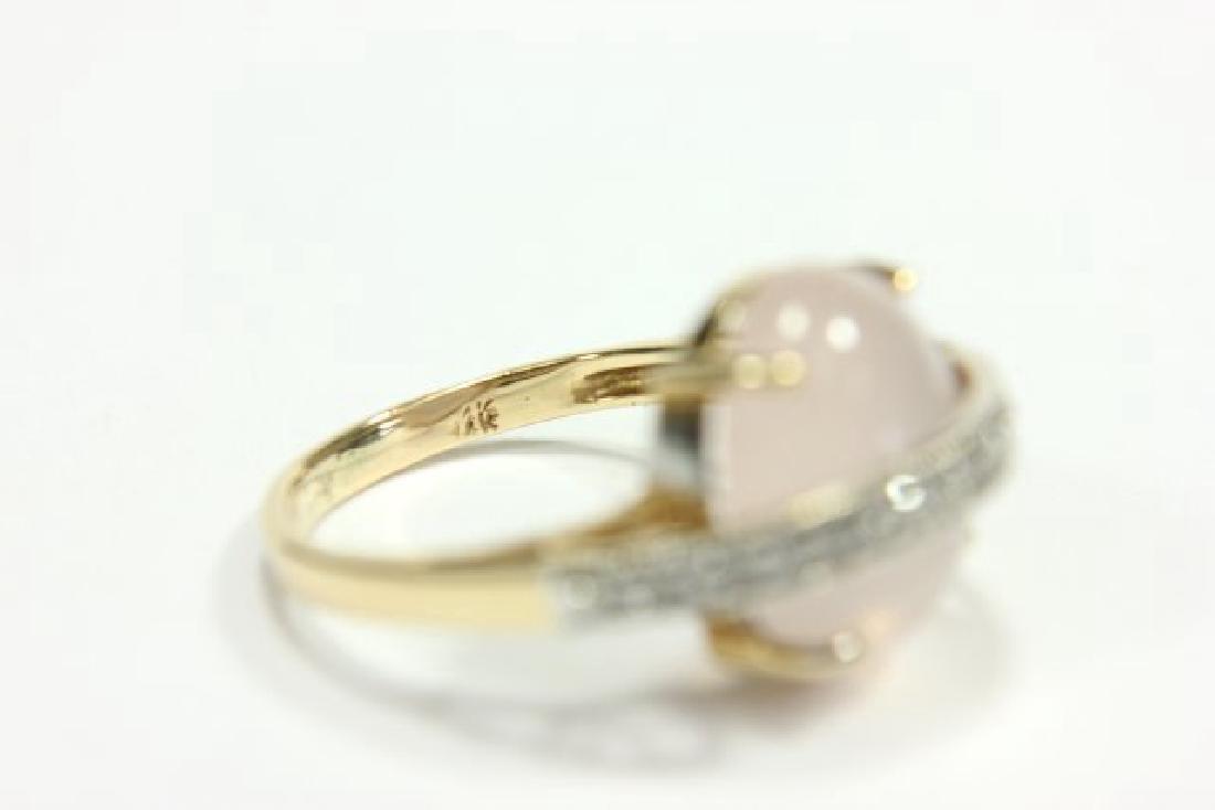 14K Yellow Gold Quartz & Diamond Cocktail Ring - 3