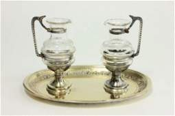 Early 20th C French Silver  Glass Cruet Set