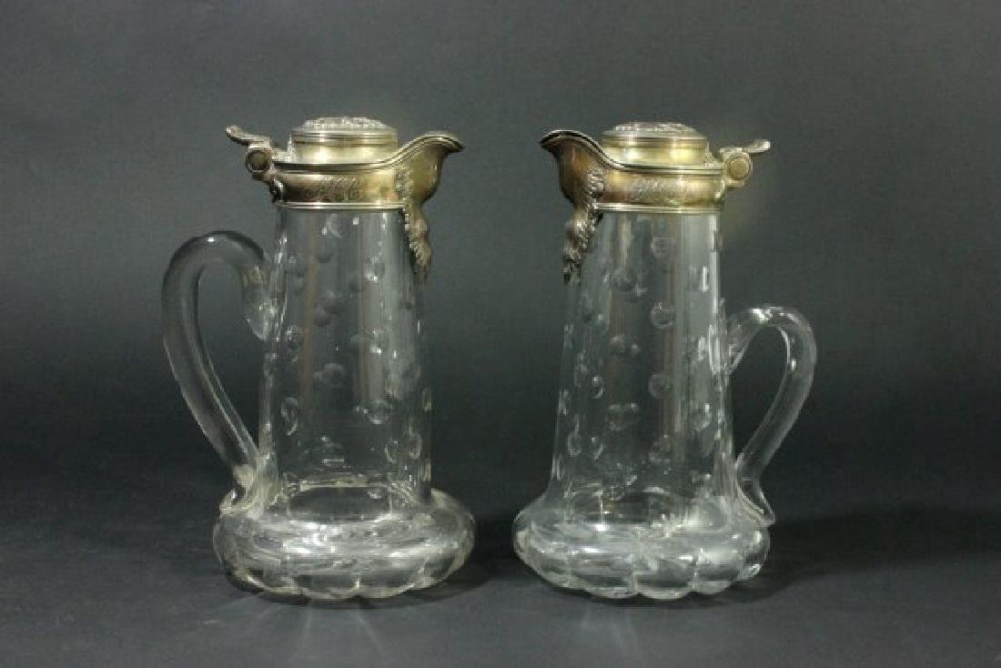Matched Pair Tiffany Crystal Pitchers