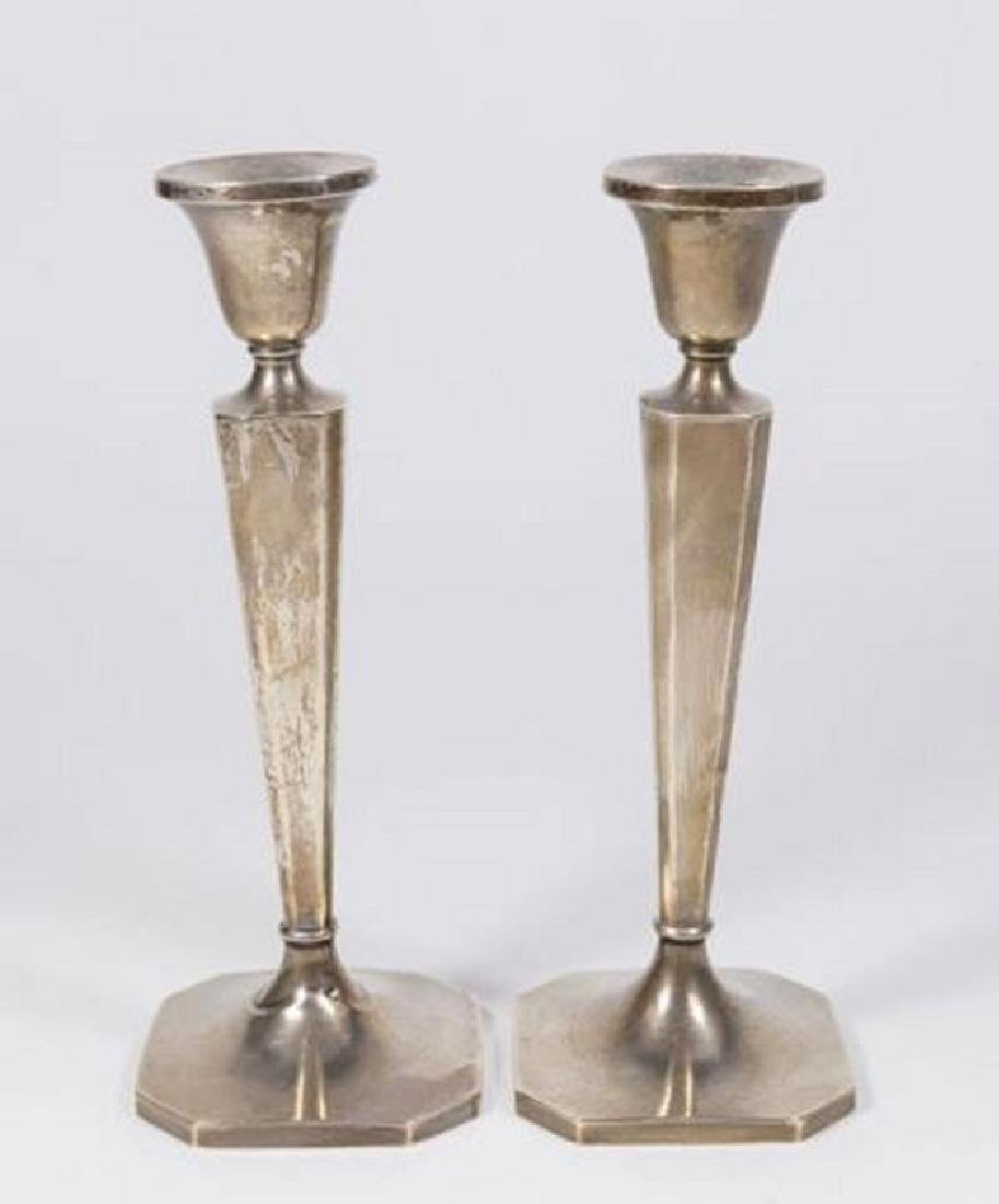 :Pair B&M Sterling Silver Weighted Candlesticks