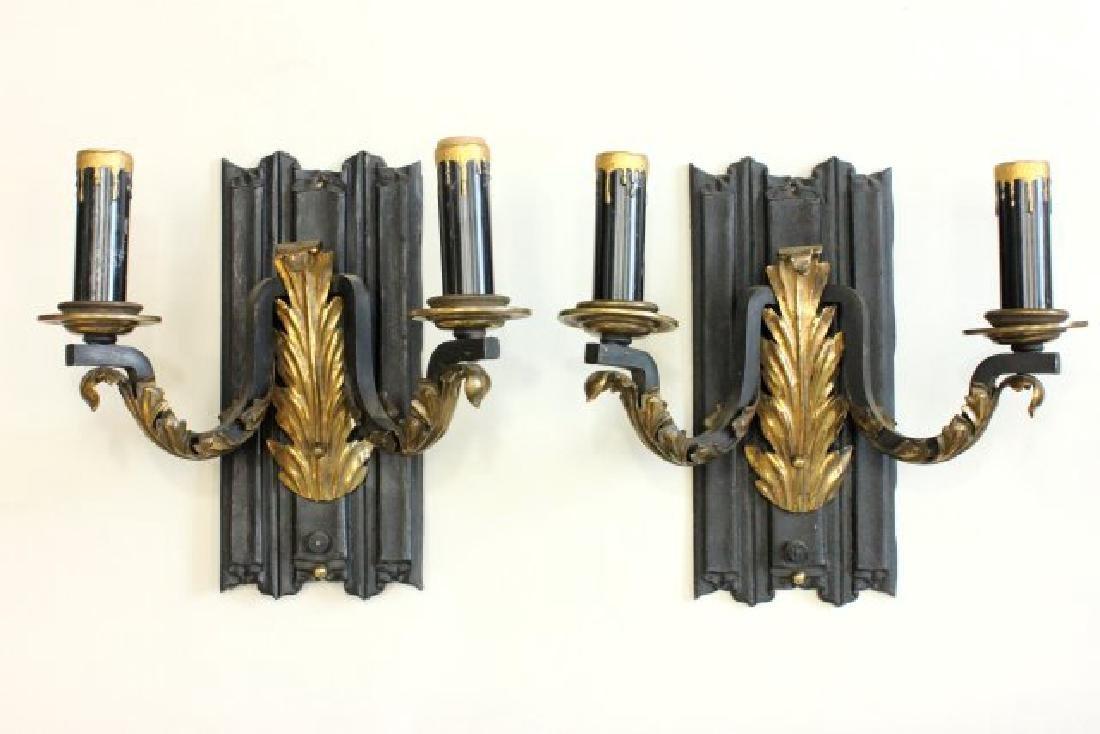 Pair 2-Arm Sconces with Brass Leaf Design Applique