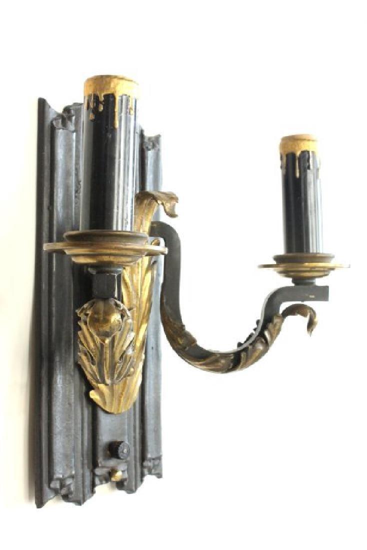 Pair 2-Arm Sconces with Brass Leaf Design Applique - 3