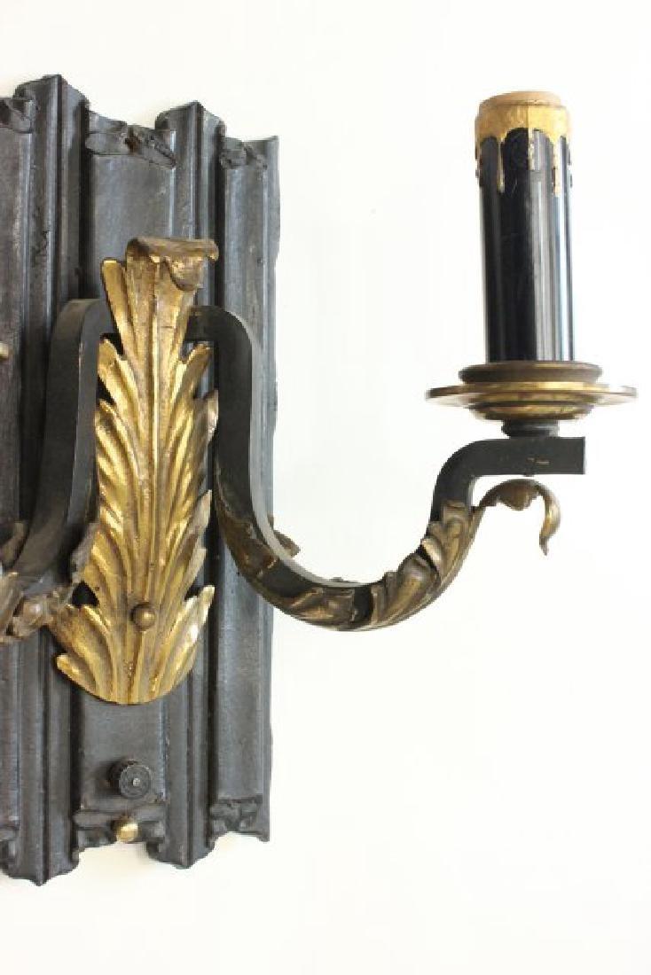 Pair 2-Arm Sconces with Brass Leaf Design Applique - 4