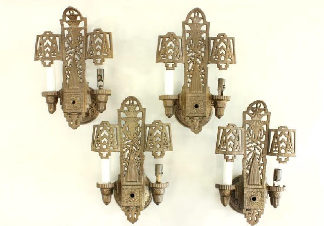 4 Art Deco 2-Light Sconces