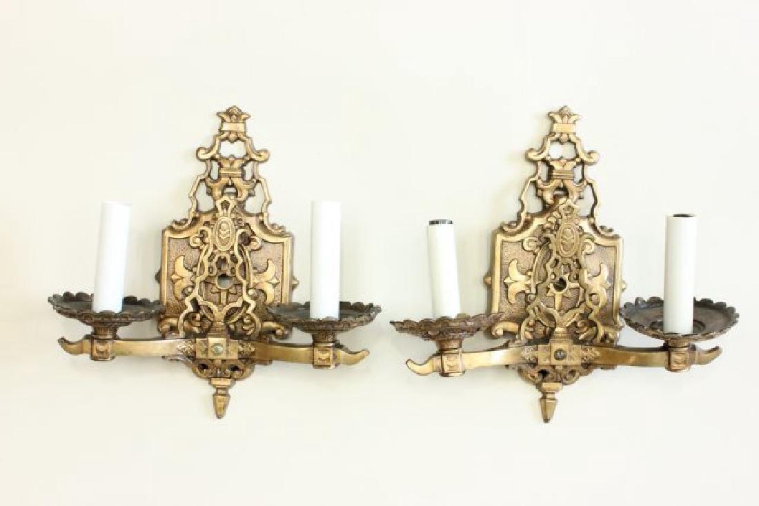 Pair Bronze 2-Arm Art Deco Sconces