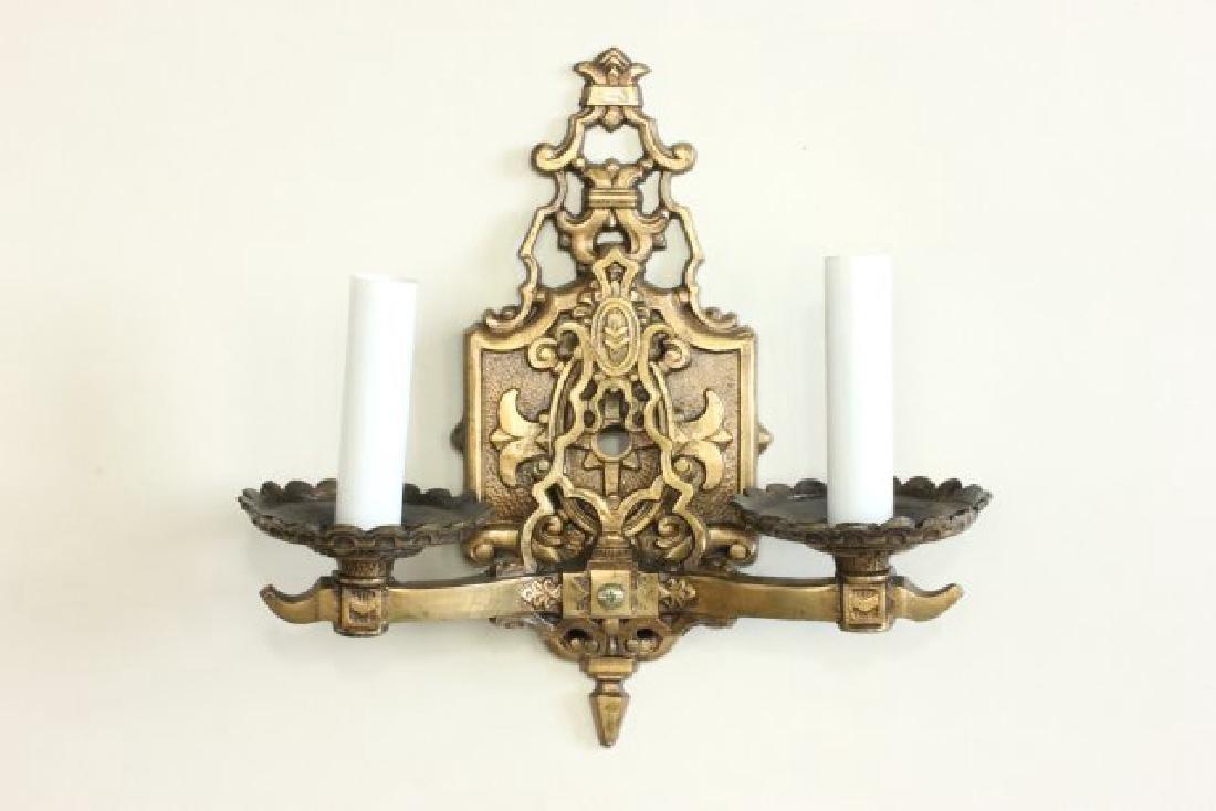 Pair Bronze 2-Arm Art Deco Sconces - 2