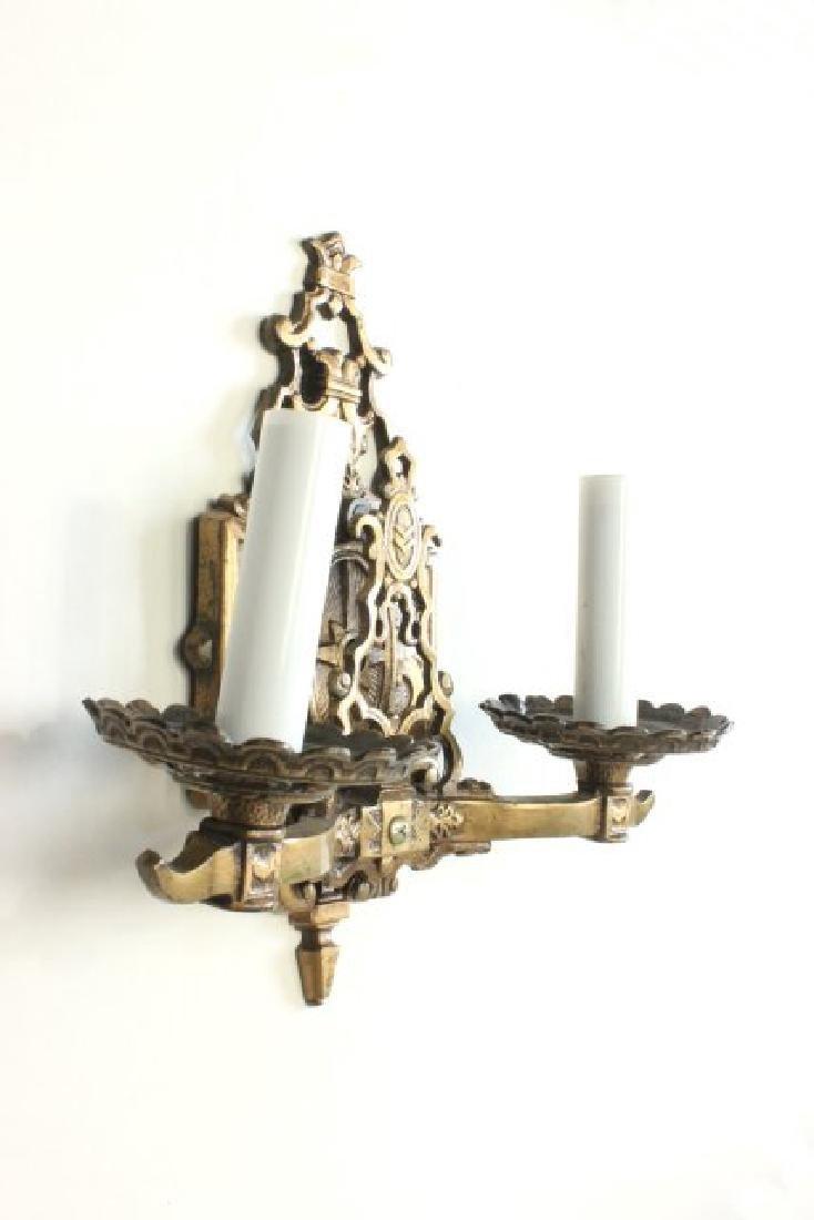 Pair Bronze 2-Arm Art Deco Sconces - 5