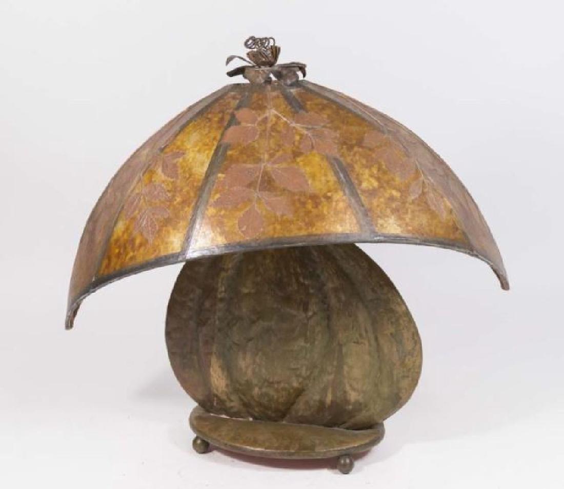 :Hand Hammered Arts & Crafts Copper Clad Lamp Base