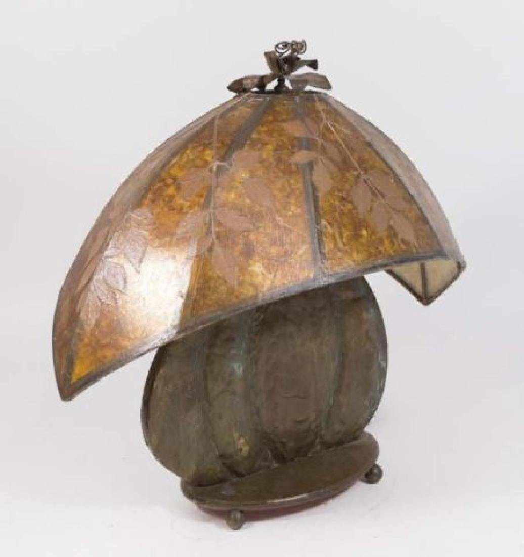 :Hand Hammered Arts & Crafts Copper Clad Lamp Base - 5