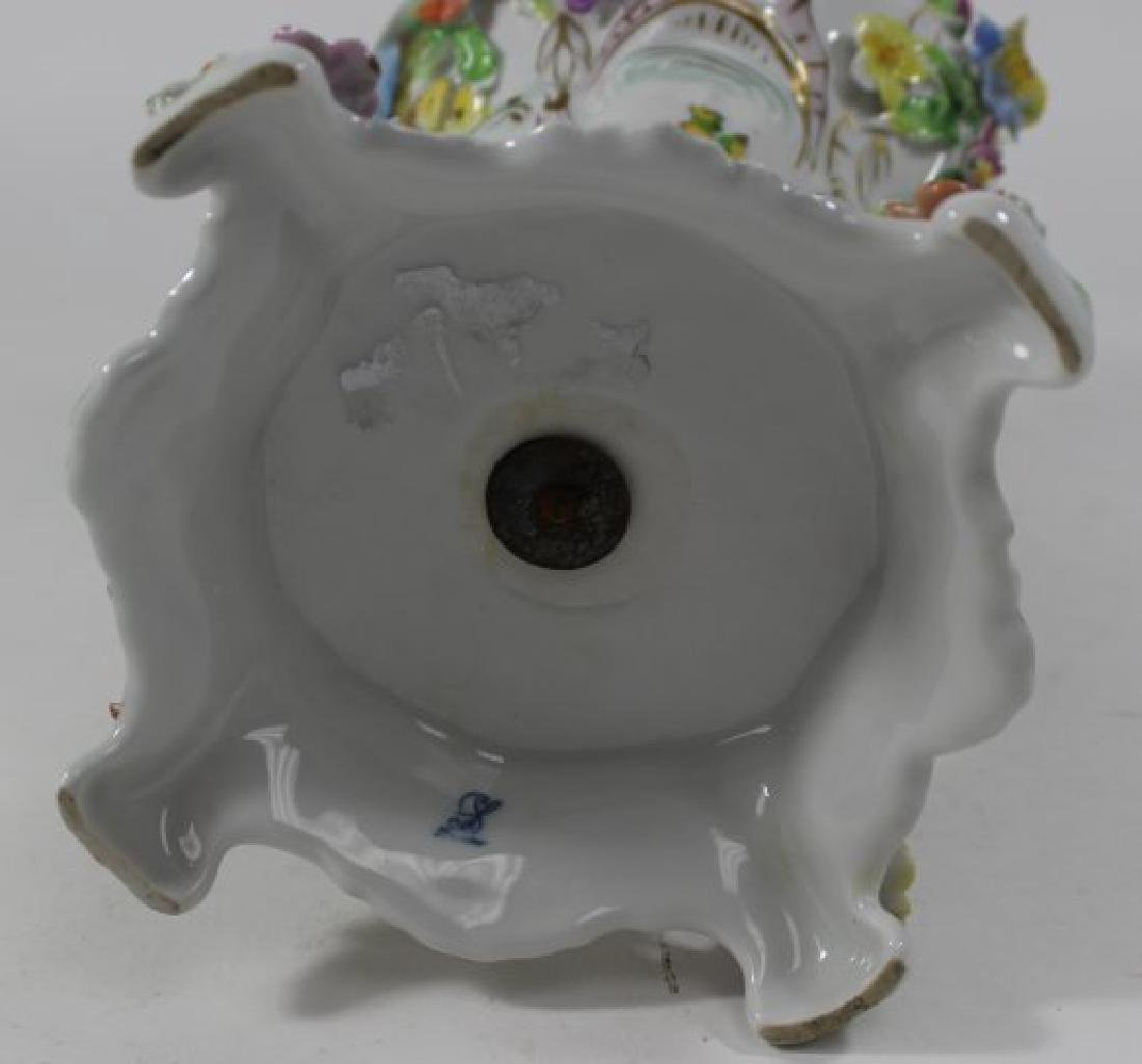Pair Dresden Floral Covered Urns - 10