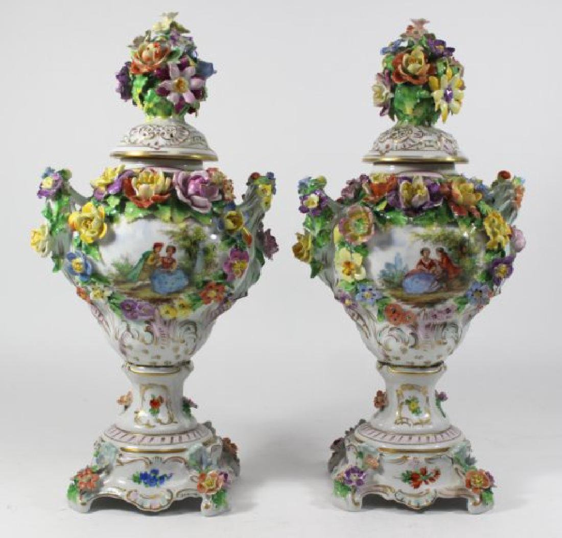 Pair Dresden Floral Covered Urns