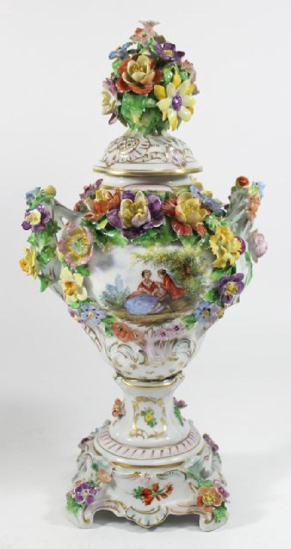 Pair Dresden Floral Covered Urns - 2