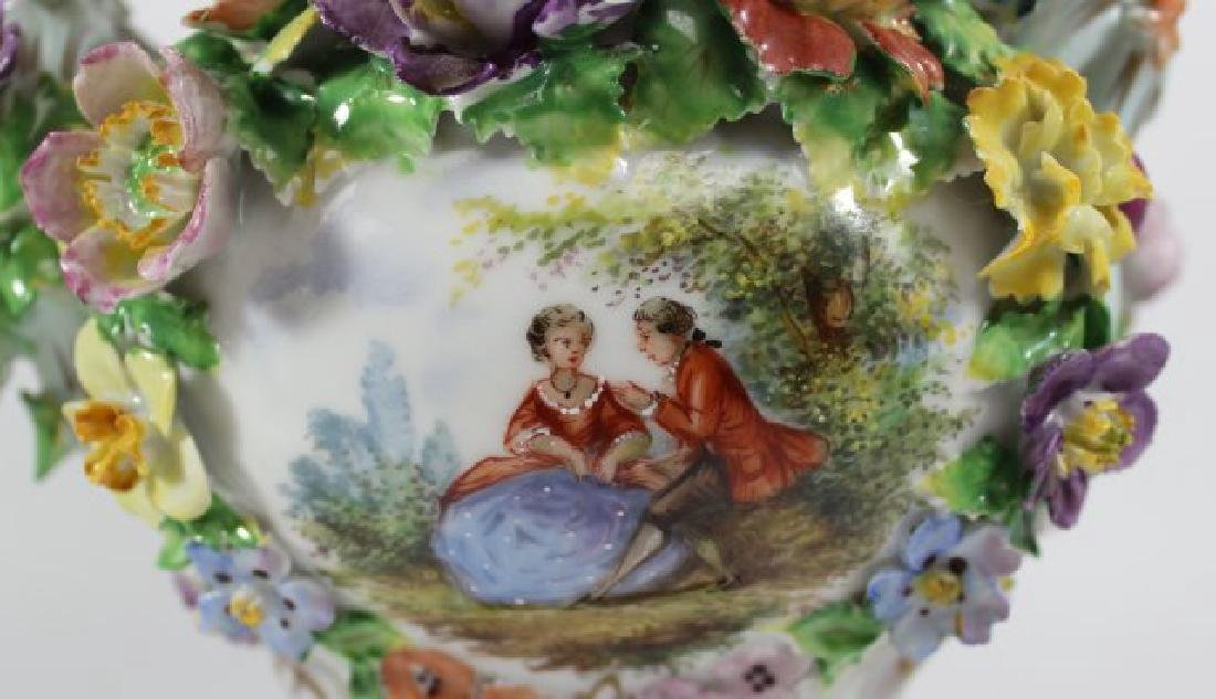 Pair Dresden Floral Covered Urns - 3